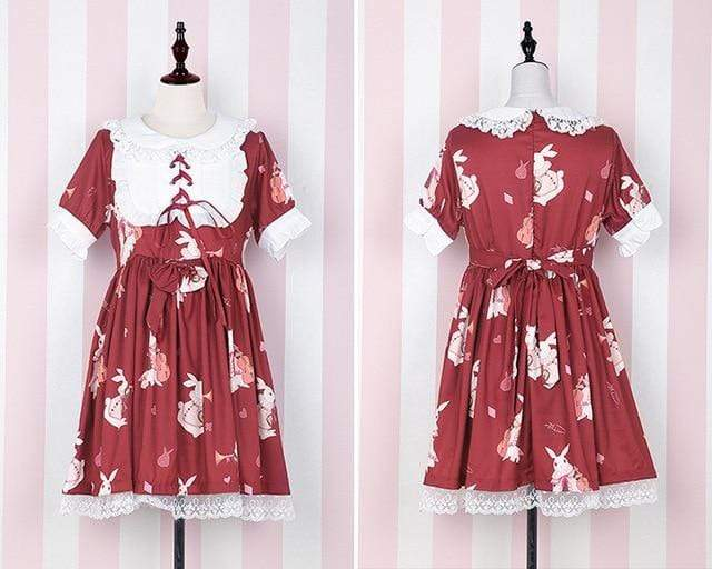 Kinky Cloth Red Short Sleeves / S Lolita Bunny Dress