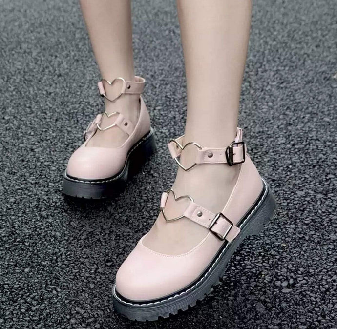 Kinky Cloth Shoes Lolita Heart Shoes