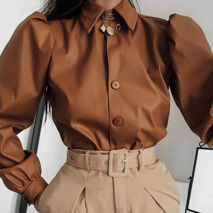 Kinky Cloth 200000346 Brown / S Long Puff Sleeve PU Leather Blouse