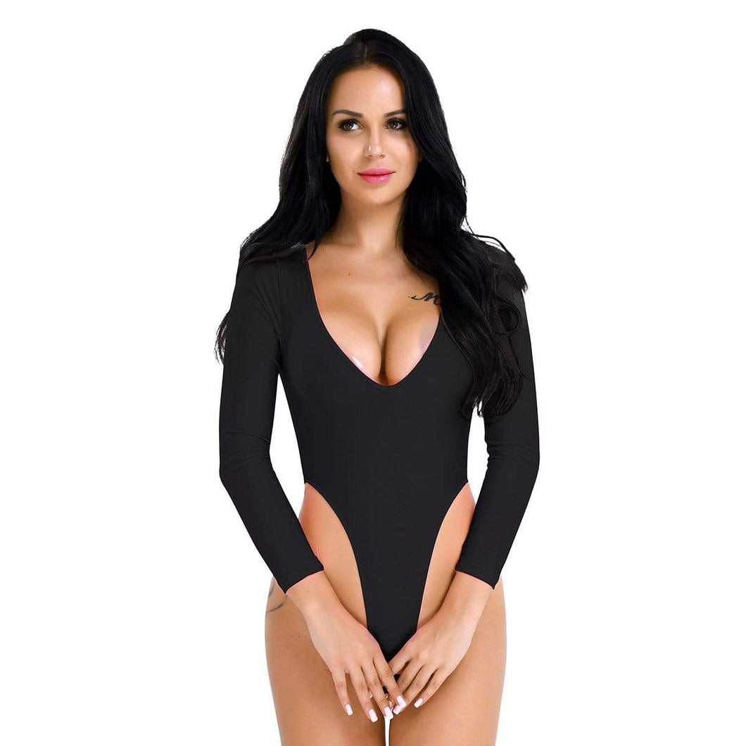 Kinky Cloth 200001800 Black / One Size Long Sleeve High Cut Crotchless Leotard Bodysuit