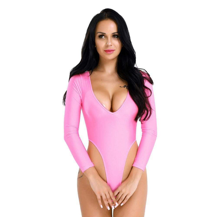 Kinky Cloth 200001800 Long Sleeve High Cut Crotchless Leotard Bodysuit