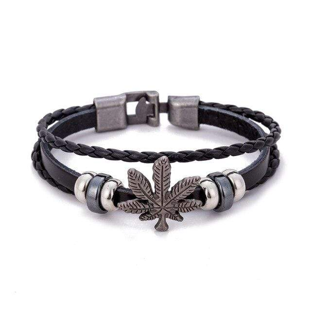 Kinky Cloth Black Marijuana Leaf Wristband Bracelet