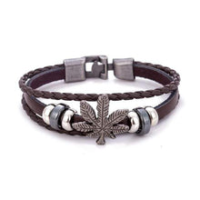 Kinky Cloth Brown Marijuana Leaf Wristband Bracelet