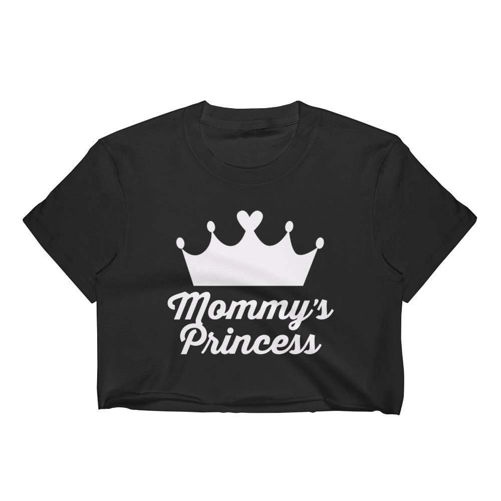 Kinky Cloth Top Crop Top - S / White/ Black Font Mommy's Princess Crown Top