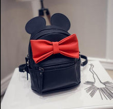 Kinky Cloth backpack Black bag Red bow Mouse Ears Bow Backpack