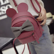 Kinky Cloth Bags & Wallets Fuchsia Mouse Ears Bow Backpack