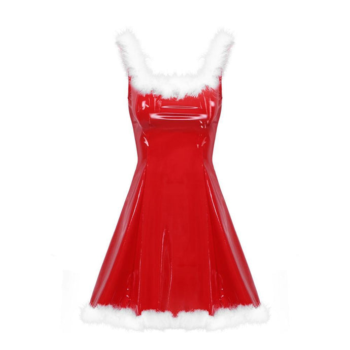 Kinky Cloth 200000347 Mrs Santa Latex Dress With Hat