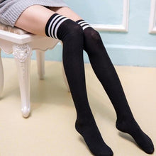 Kinky Cloth Black Striped Naughty Nerd Thigh High Socks