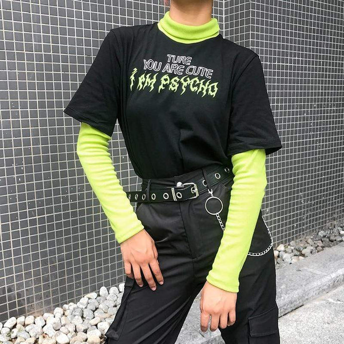 Kinky Cloth 200000791 Neon Green Gothic Letter T-Shirt