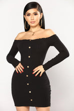 Kinky Cloth Dresses black dress / L Open Shoulder Sweater Dress