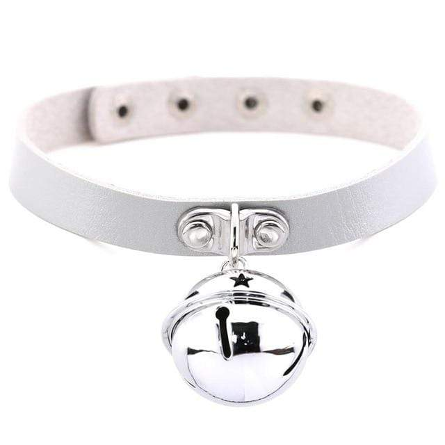 Kinky Cloth White Pet Kitten Bell Collar