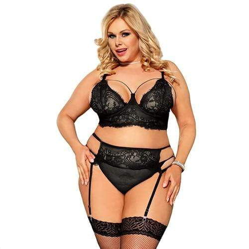 Kinky Cloth 200002225 Black Lingerie Set / 5XL Plus Size Floral Lace Garter Lingerie Set