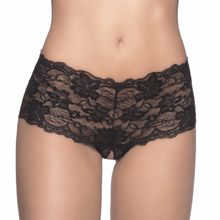 Lime Lucy Women's Clothing Black / 3X/4X Plus Size Sexy Crotchless Lace Boyshorts