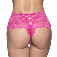 Lime Lucy Women's Clothing Pink / 3X/4X Plus Size Sexy Crotchless Lace Boyshorts