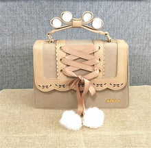 Kinky Cloth Bags & Wallets Beige Pom Pom Lolita Purse