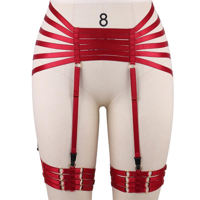 Kinky Cloth 200001886 Red Garters Elastic Waist and Thigh Harness