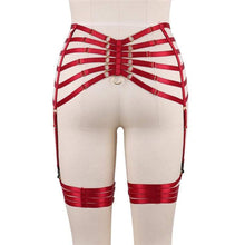 Load image into Gallery viewer, Red Garter Elastic Waist and Thigh Harness