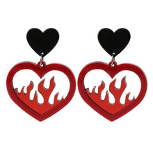 Kinky Cloth 200000168 Red Heart Fire Dangle Earrings
