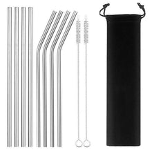 Kinky Cloth Home Sliver2 8pcs Reusable Stainless Steel Straw Set