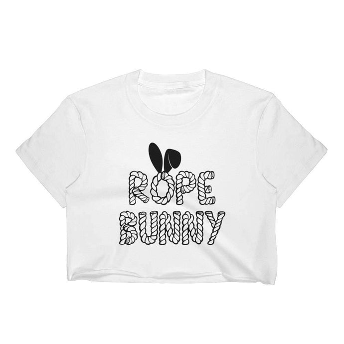 Kinky Cloth Top Crop Top - S / Black/ White Font Rope Bunny Bondage Top