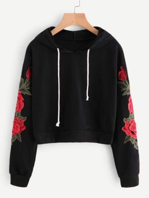 Celeste Top L Rose Embroidered Hoodie