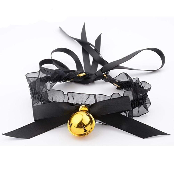 Ruffled Ribbon Bell Choker