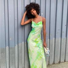 Kinky Cloth Dresses tie dye green / L Satin High Waist Backless Dress