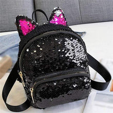 Load image into Gallery viewer, Kinky Cloth Bags & Wallets Black Sequin Kitten Ears Backpack