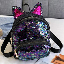 Load image into Gallery viewer, Kinky Cloth Bags & Wallets Dark Purple Sequin Kitten Ears Backpack