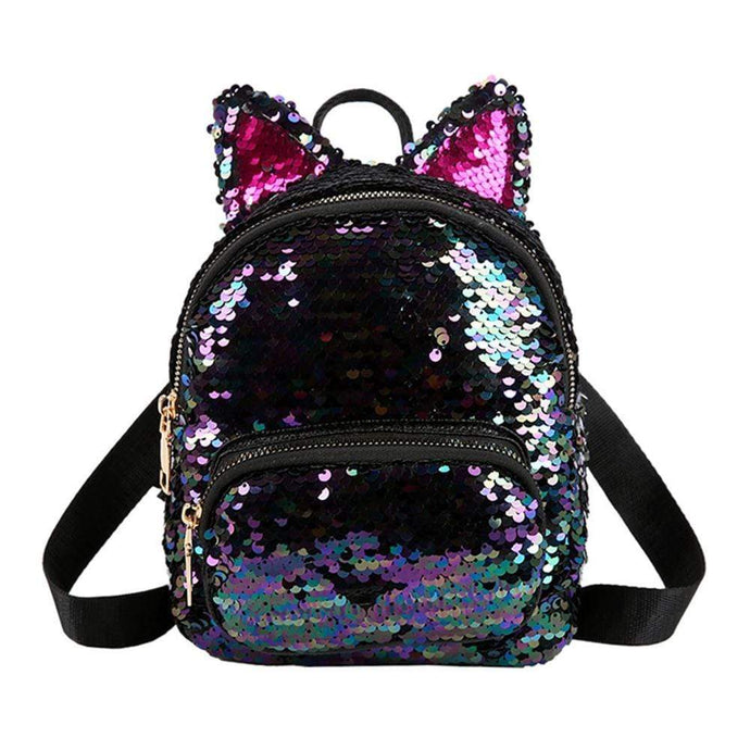 Kinky Cloth Bags & Wallets Sequin Kitten Ears Backpack