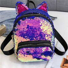 Load image into Gallery viewer, Kinky Cloth Bags & Wallets Light Purple Sequin Kitten Ears Backpack