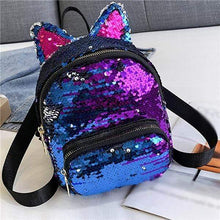 Load image into Gallery viewer, Kinky Cloth Bags & Wallets Midnight Purple Sequin Kitten Ears Backpack