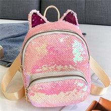 Load image into Gallery viewer, Kinky Cloth Bags & Wallets Pink Sequin Kitten Ears Backpack