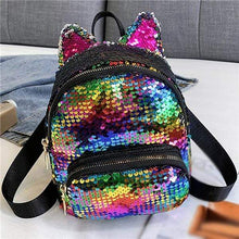Load image into Gallery viewer, Kinky Cloth Bags & Wallets Rainbow Sequin Kitten Ears Backpack