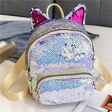 Load image into Gallery viewer, Kinky Cloth Bags & Wallets Silver Sequin Kitten Ears Backpack