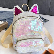 Load image into Gallery viewer, Kinky Cloth Bags & Wallets White Blush Sequin Kitten Ears Backpack