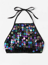 Load image into Gallery viewer, Celeste Top L Sequin Knot Back Halter Top