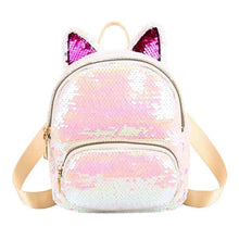 Kinky Cloth 152401 White Sequins Cat Ear Travel Backpacks
