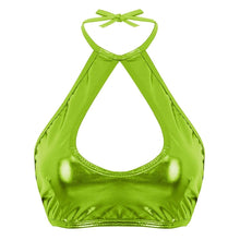 Kinky Cloth 200000790 Fluorescent Green / One Size Shiny Metallic Halter Crop Top