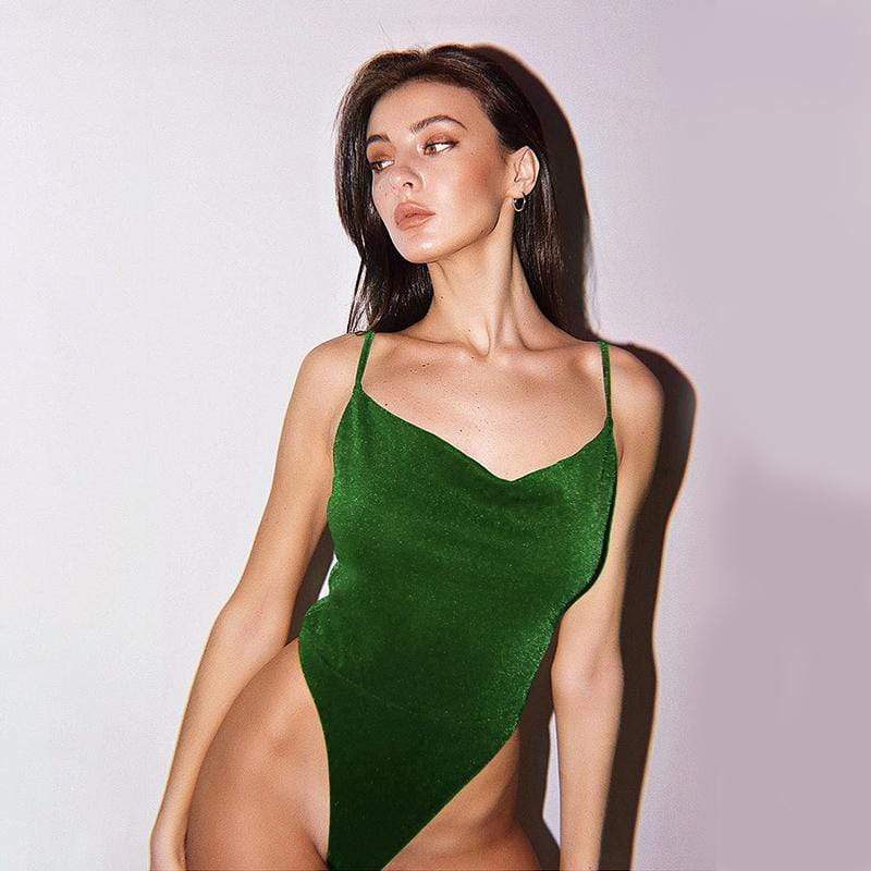 Kinky Cloth Bodysuit Green / L Silk V Bodysuit