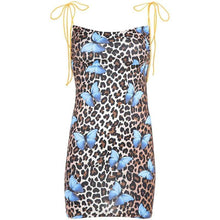Kinky Cloth Dresses Brown Dress / L Spaghetti Strap Butterfly Leopard Dress