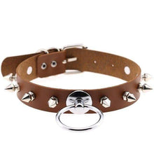 Kinky Cloth Brown Spiked Ring Collar