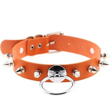 Kinky Cloth Orange Spiked Ring Collar