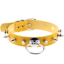 Kinky Cloth Yellow Spiked Ring Collar