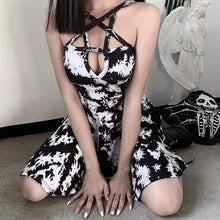 Gothic Black and White Dyed Dress