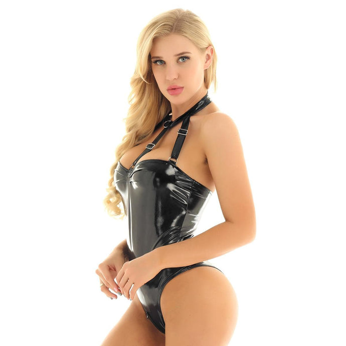 Kinky Cloth 200001800 Strappy Bust High Cut Latex Bodysuit