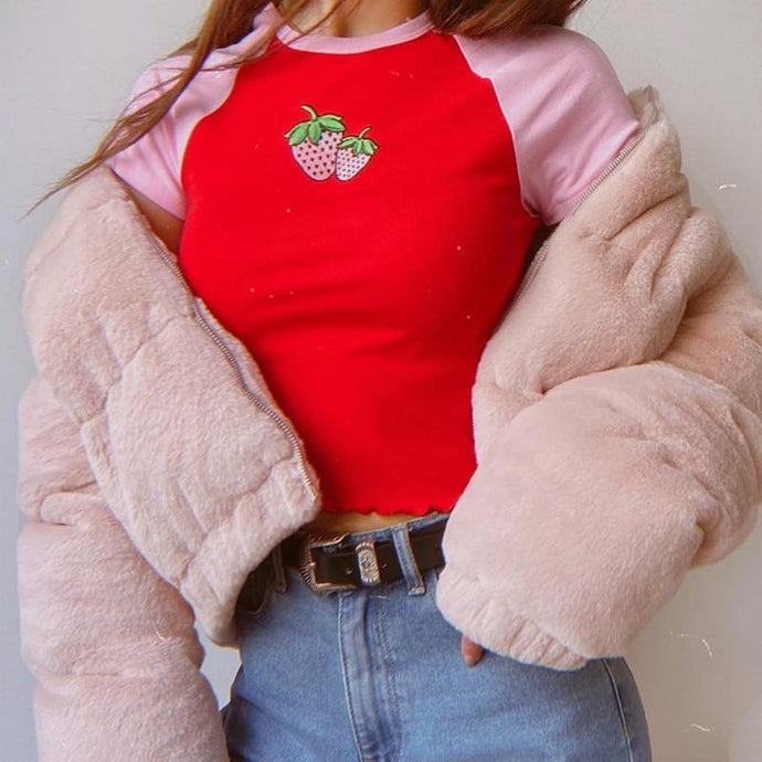 Kinky Cloth 200000791 Strawberry Embroidered Crop Shirt