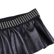 Kinky Cloth Skirt Studded Waist Micro Skirt
