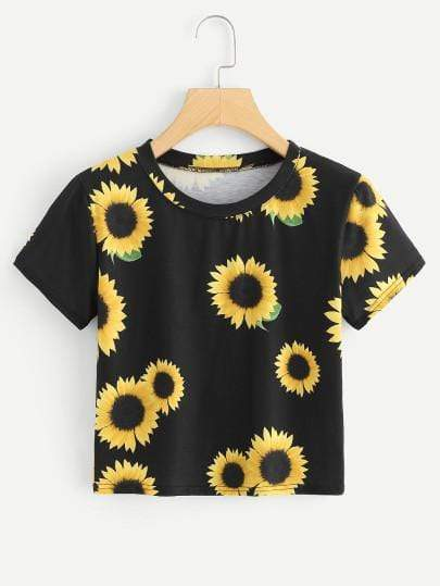 Celeste Tops L Sunflower Crop Top