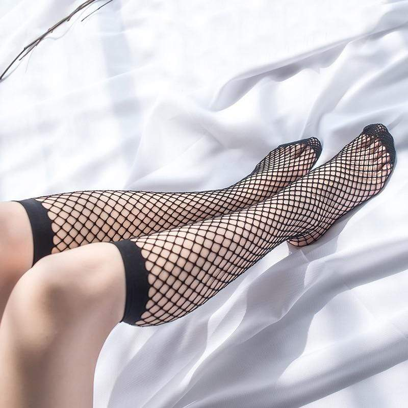 Kinky Cloth 200000866 Black1 Transparent Elastic Fishnet Stockings
